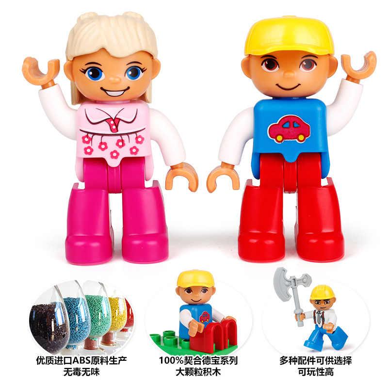Legoing Duplo figuras de la policía de la familia Dady de la mamá de la abuela de gran tamaño bloques de construcción de juguete para niños figura de Duplo Compatible