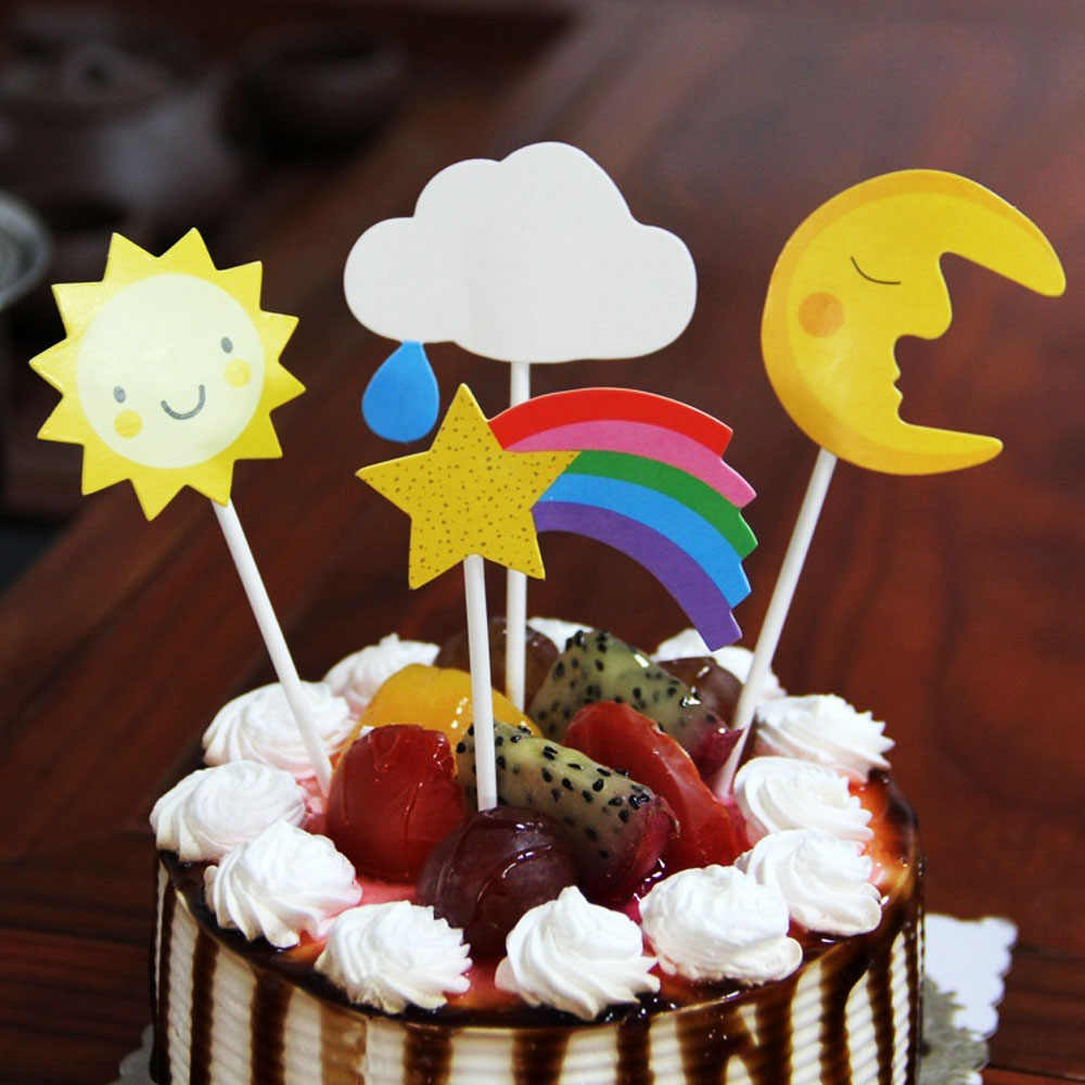 4pcs Set Birthday Cake Topper Cupcake Toppers Cartoon Sun Moon Cloud Star Top Flag Decoration Birthday Party Wedding Supplies Aliexpress