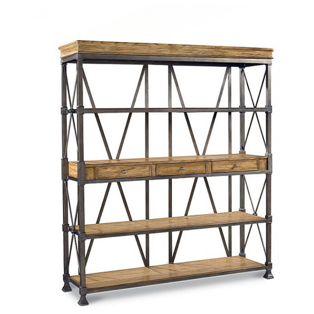 Loft American Country Style Furniture Wrought Iron Entrance Industry Old Pine Bookcase Shelves Display Cabinet