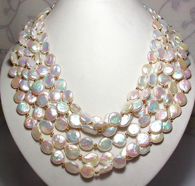 Selling jewerly >6 Strand Luster White Rainbow Coin Freshwater Pearl Necklace>free shipping