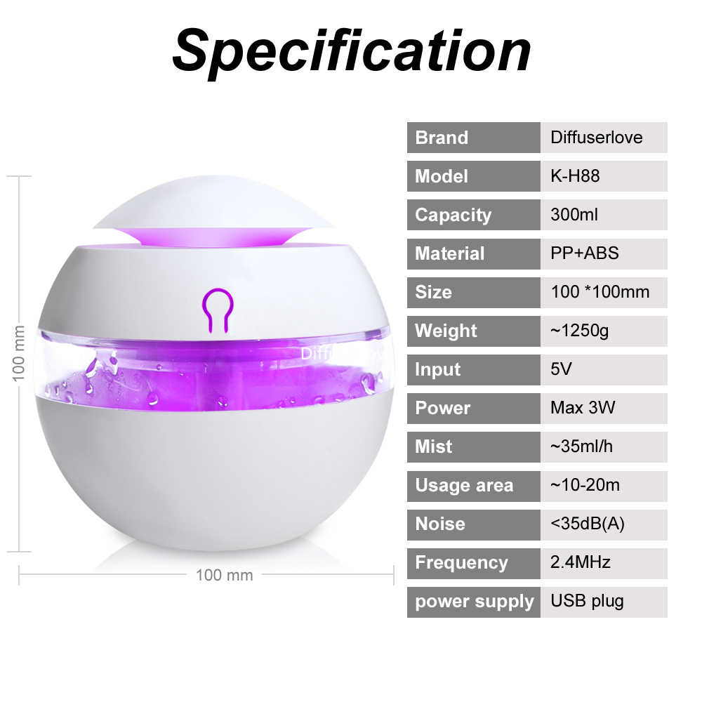 Diffuserlove USB Tạo Độ Ẩm 300 ml Hương Liệu Tinh Dầu Khuếch Tán Siêu Âm Hương Thơm Sương Mù Làm Cho Với 7 Màu LED Ánh Sáng