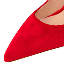 High Heels Shallow Office Shoes Solid Flock Pointed Toe Pumps
