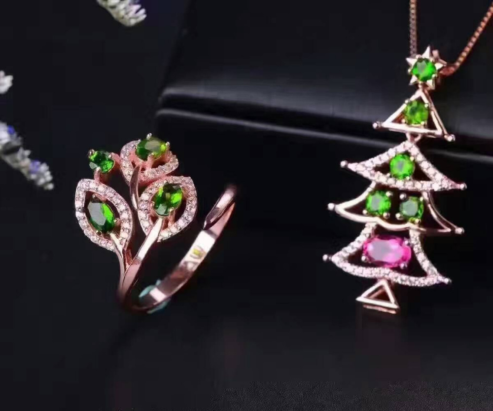 Natural tourmaline gem jewelry sets natural gemstone Pendant ring 925 silver Elegant luxurious Flowers women jewelryNatural tourmaline gem jewelry sets natural gemstone Pendant ring 925 silver Elegant luxurious Flowers women jewelry