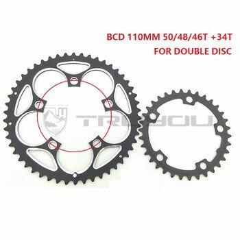 Rueda de cadena true BCD 110 MM 50 T 48 T 46 T 34 T rueda de bicicleta de carretera Chainwheel de bicicleta plegable disco de engranaje doble de 5-9 velocidades