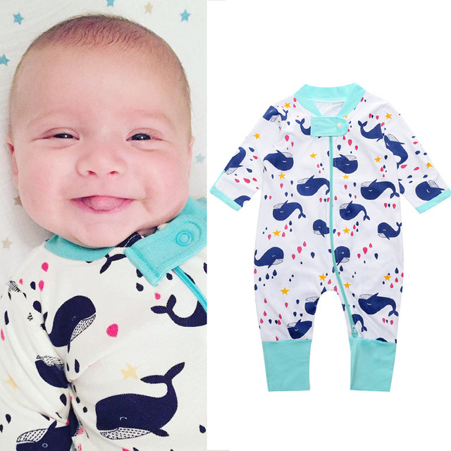 dc199384aa Full Print Zipper Newborn Clothes Baby Pajamas Romper Boys Sleepwear Cotton  Girl Jumpsuit Infant Overall 0-2Years Top Quality