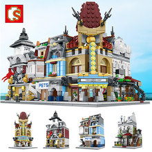 Free shipping European style architecture Blocks Mini Street Building Bricks 4 set Package splice educational toys gift