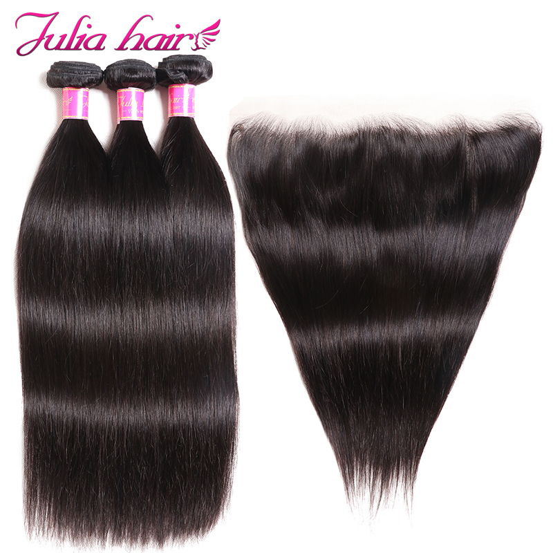 Ali Julia 100 Brazilian Straight Human Hair Lace Frontal Closure With 3 Bundles 13 4 Pre