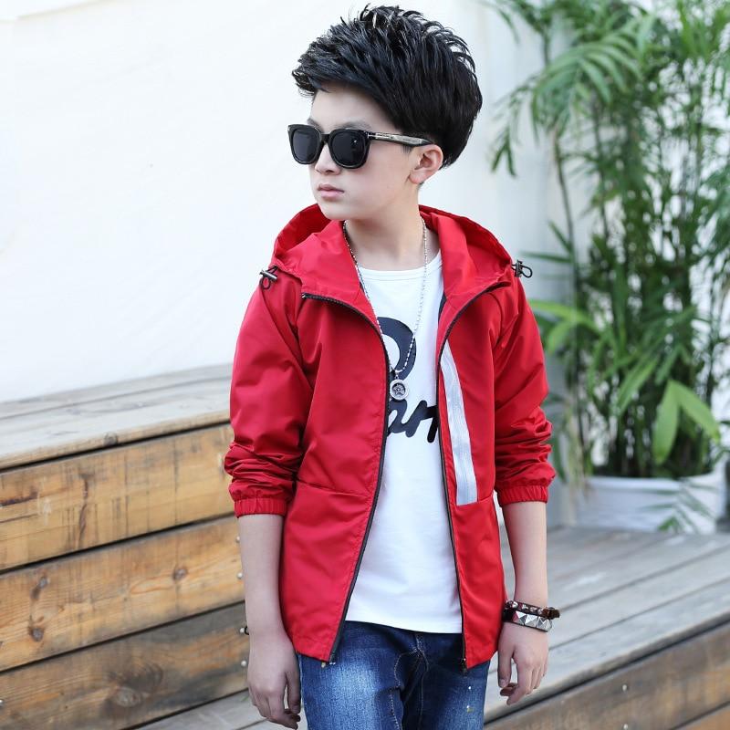 Новый корейский стиль Повседневное мода краткое сплошной куртка для мальчиков хлопка с длинным рукавом Детская куртка с капюшоном Active поли...