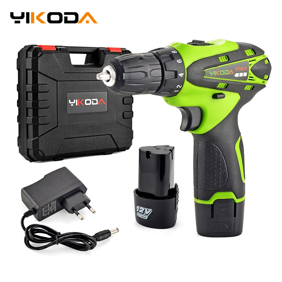 YIKODA 12V Electric Screwdriver Lithium Battery Rechargeable Parafusadeira Furadeira Multi function Cordless Drill Power Tools-in Electric Screwdrivers from Tools on