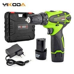 Yikoda 12 v elétrica chave de fenda bateria de lítio recarregável parafusadeira furadeira multi-função sem fio ferramentas elétricas da broca