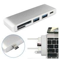 Portable Aluminium 5in1 Interface USB C Hub 3.0 Type-C Adapter Opladen Data Sync Kaartlezer voor MacBook