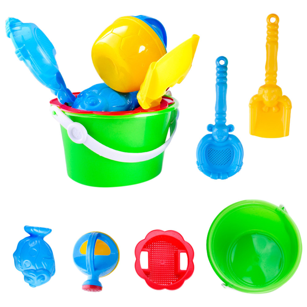 Huang Neeky #501 2019 NEW 6Pcs Sand Kids Beach Toys Plastic Castle Bucket Spade Shovel Rake Water Tools For Kids Free Shipping
