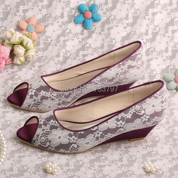 Wedopus MW350 Custom Handmade Purple Satin Ivory Lace Wedding Wedge Heel Party Shoes