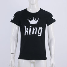 2017 Valentine Shirts Woman Cotton King Queen Funny Letter Print Couples Leisure T-shirt Man Tshirt Short Sleeve O neck T-shirt