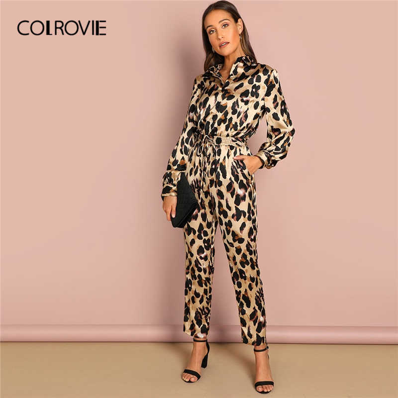 1c2026ca6ce4d7 COLROVIE Belted Leopard Print Sexy Shirt Jumpsuit Romper Women 2019 Spring Long  Sleeve Combinaison Femme Office