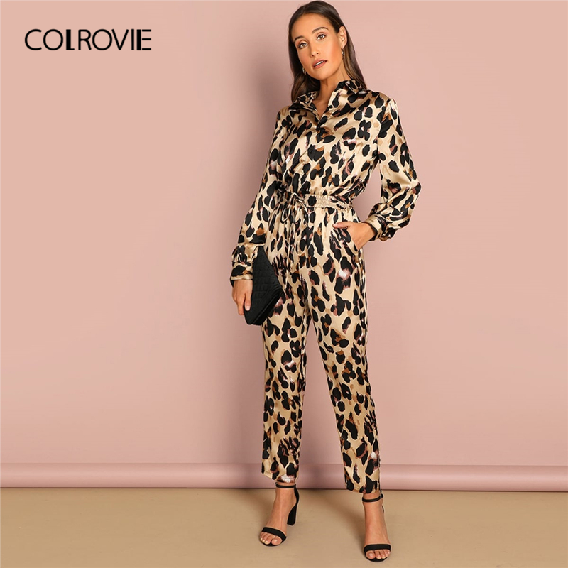 COLROVIE Belted Leopard Print Sexy Shirt   Jumpsuit   Romper Women 2019 Spring Long Sleeve Combinaison Femme Office Lady   Jumpsuits