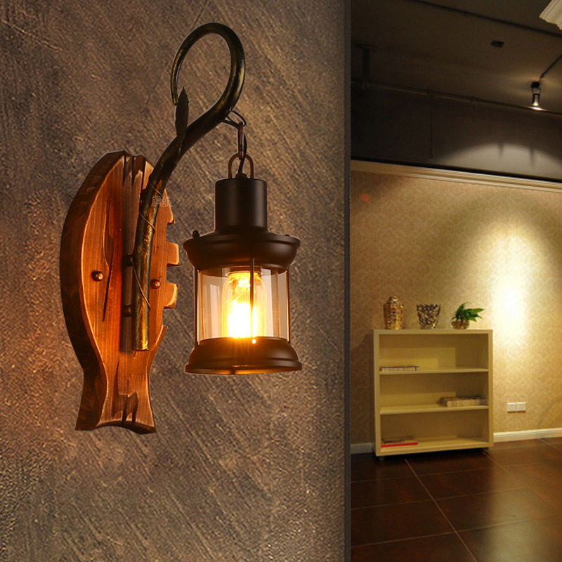 BOCHSBC abat jour en verre lampes murales en bois pour salon café Bar rétro nostalgie idusterie applique personnalité luminaires - 4