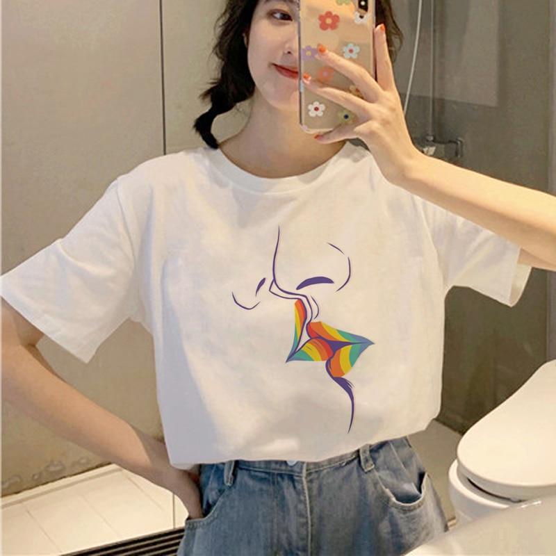 New Lgbt Harajuku T Shirt Women Ullzang Gay Pride 90s T-shirt Graphic Lesbian Cartoon Print Tshirt Korean Style Top Tees Female