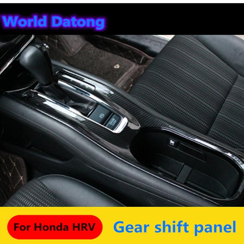Interior Center Gear Shift Panel Carbon Fiber Black Decoration Trim 2pcs For Honda HRV HR-V VezeL RHD 2014 2015 2016