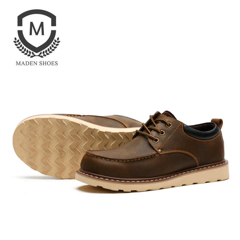 47897cbeea70 ... Maden Crazy Horse Leather Martin Boots Low-top Men Shoes Anti-slip  Wearable Work ...
