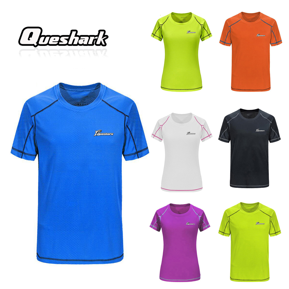 Queshark Professional Sport Quick Dry Running T Shirt Women Men Gym Training Short Sleeve Shirts Jogging Climbing Hiking Tops quick dry fitted round neck short sleeve camo print men s training t shirt