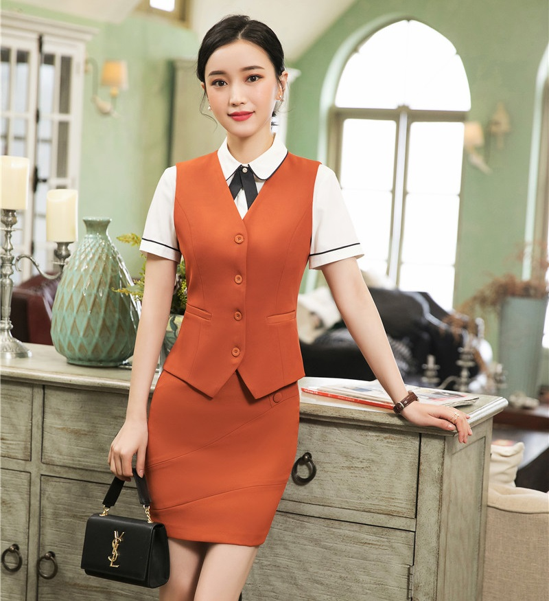 Fashion Styles 2019 Spring Summer Business Suits With Tops And Skirt Ladies Vest Coat & Waistcoat Women Work Wear Blazers Sets