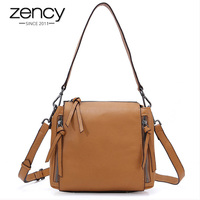 Zency 100% Genuine Leather Fashion Women Shoulder Bag Both Side Zippers Fashion Lady Crossbody Purse Elegant Bucket Brown Pink