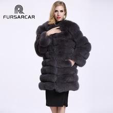 Real photo 100% Genuine women Fox Fur coat Lady's Winter Warm Half sleeve medium long Fox Fur jacket Female Natural Fur outwear