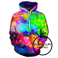ALMOSUN Colors Galaxy Space 3D All Over Printed Hoodies Pockets Sweatshirt Hipster Festival Casual Streetwear Men Women US Size