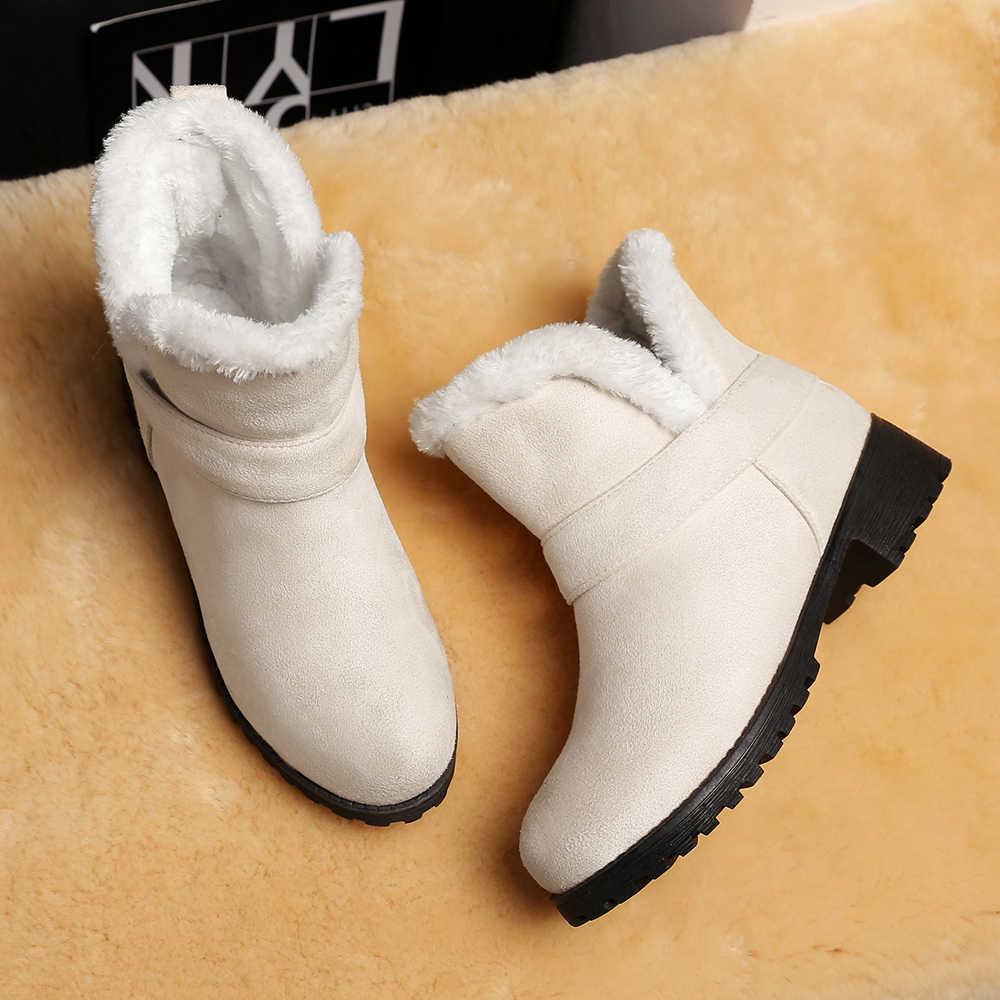 Meotina Çizmeler Kadın Kış Kar Botları Peluş Kare Topuk yarım çizmeler Sıcak Kayma Düşük Topuk Kısa Ayakkabı Kadın Bej Büyük boyutu 3-12