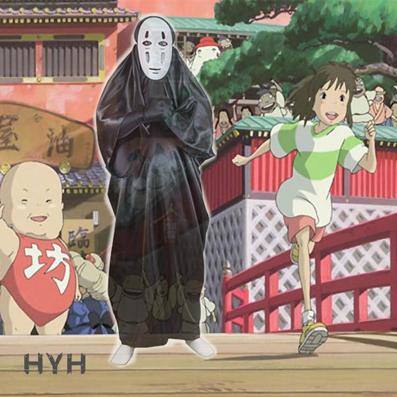 2018 Geen Gezicht Man Spirited Away Cosplay Kostuum Met Masker Handschoenen Voor Halloween Kostuum Anime Miyazaki Hayao Faceless Mantel