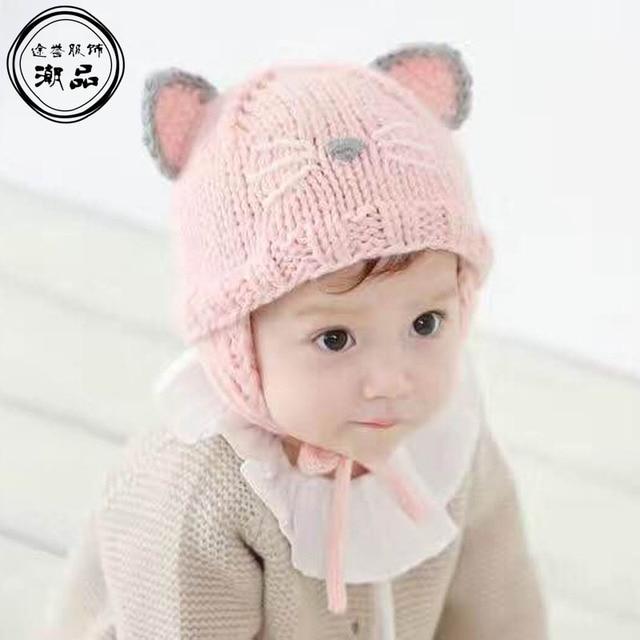 a591932d7 100% Handmade Baby Caps Cute Cat Children Hats Winter Crochet Beanie ...