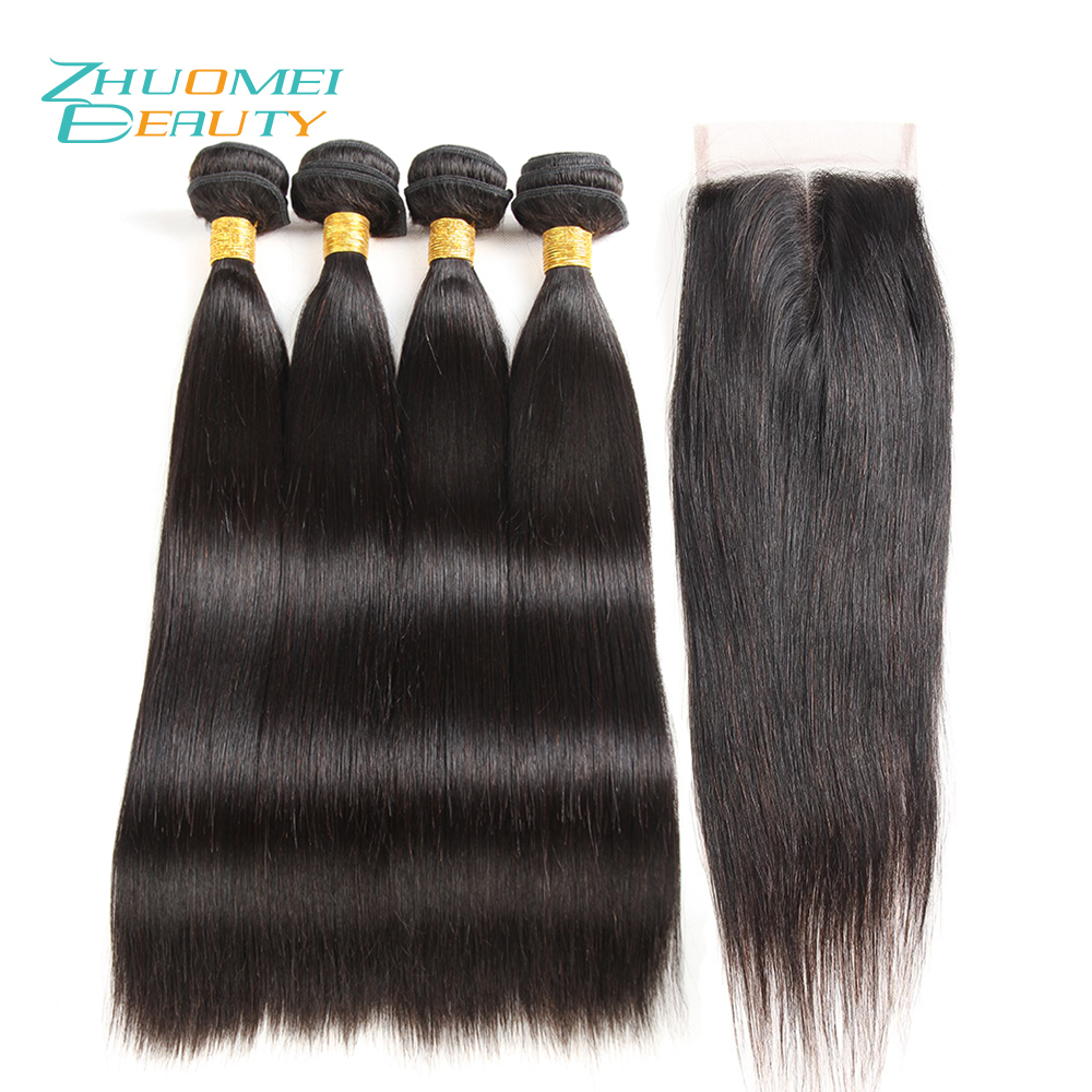 Zhuomei BEAUTY Mongolian Hair Bundles With Closure 4PCS Straight Hair Bundles Natural Colour Remy Human Hair Bundles 8-28inch