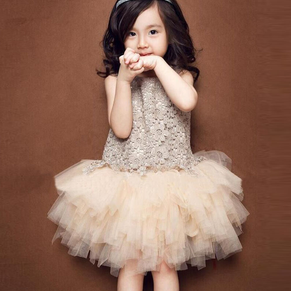 2017 Summer New Lace Vest Girl Dress Baby Girl Princess Dress 3-7Y Children Clothes Kids Party Costume Ball Gown Beige Dresses newborn girls dresses 2017 new summer sleeveless baby girl lace dress ball gown kids dress princess girl children clothes 3ds092