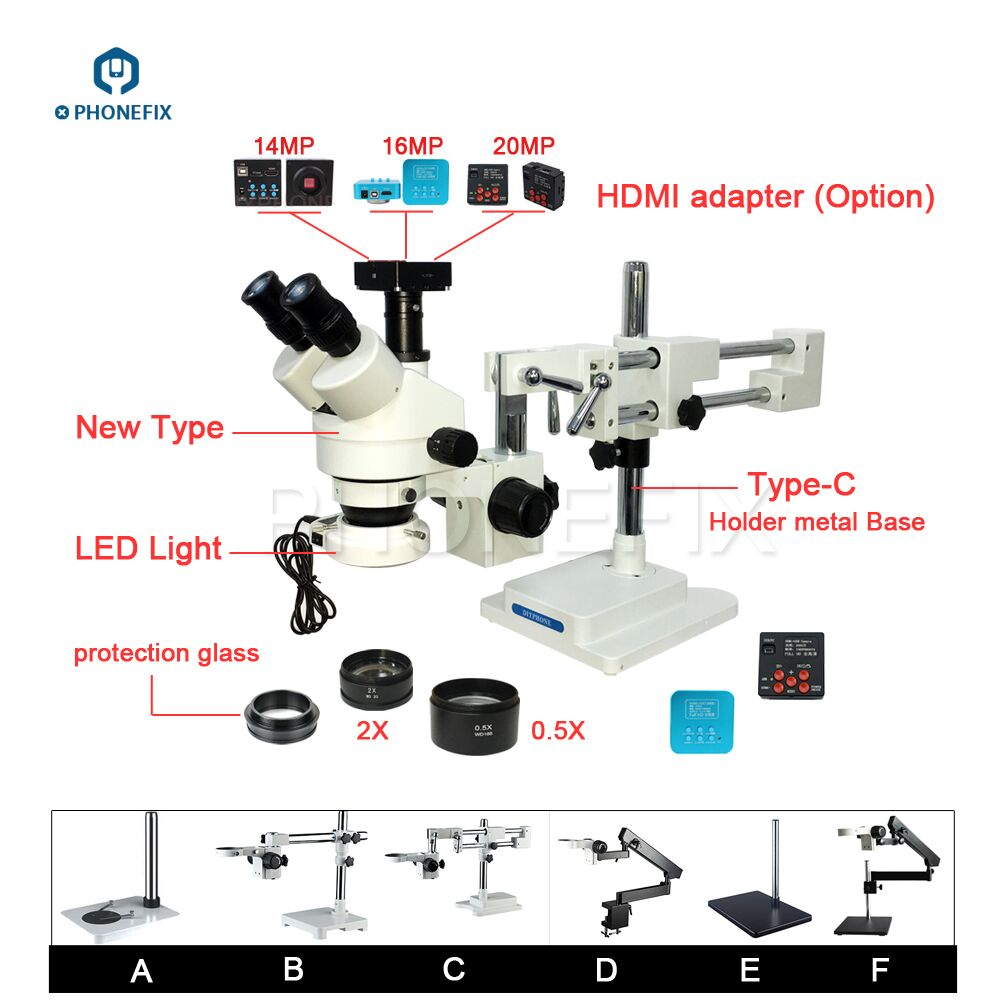 PHONEFIX 14 16 20MP HDMI Caméra 3.5-90X Stéréo Zoom Microscope 144LED Objectif Lentille Microscope Pour Téléphone Mobile De Réparation