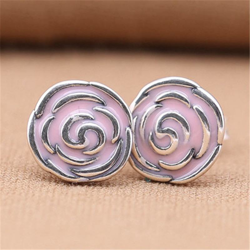 Fashion 925 Sterling Silver Sweet Branded Earrings For Women Pink Glazed Rose Earring Studs Fine Original Europe Jewelry Gift in Stud Earrings from Jewelry Accessories