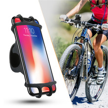 Bike Phone Holder Adjustable Silicone Traction Button Anti-shock Fork Mounting Bracket Bicycle