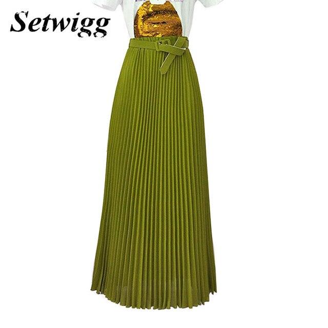 SETWIGG High Quality 90cm Long Chiffon Pleated Skirts Elastic Waist Belt Casual Candy Maxi Long Bohemian Summer Skirts 14 Colors