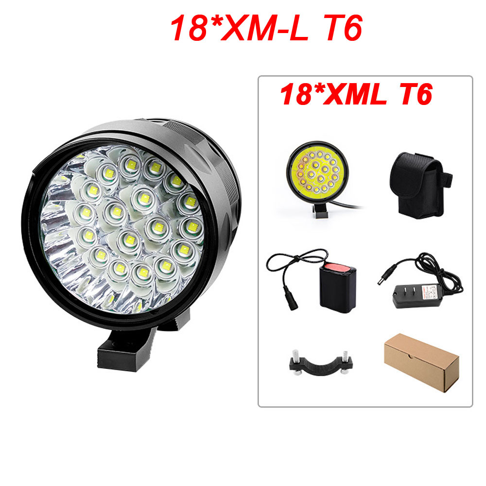 18T6 Super Bright Waterproof Lamp 20000 Lumens 18 x XM-L T6 LED Front Bike Headlight 3 Modes Bicycle Light Bike Accessories super bright bike bicycle light supwildfire 50000lm 15 x xm l t6 led power