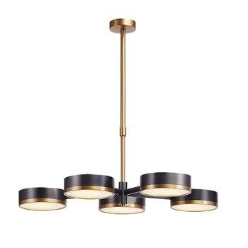 Yeni varış Modern 5 kol Kolye Işık Yaratıcı siyah pirinç asılı lamba Kaldırma çubuğu ayarlanabilir akrilik abajur ev dekorasyon