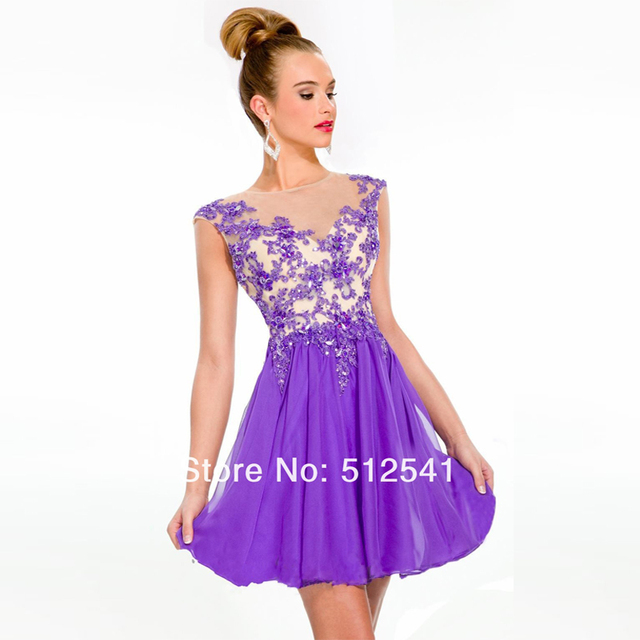 a5208c1bb70 Hot Sale Cap Sleeve Purple Beaded Applique Short Homecoming Dresses 2015 8  Grade Graduation Dresses For Girls Party Gown