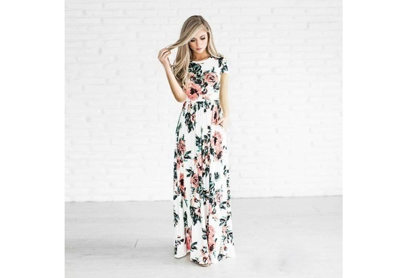 Large Size XXL US Women Floral Print Long Sleeve/Short Sleeve Beach Lady Evening Party Long Maxi Dress