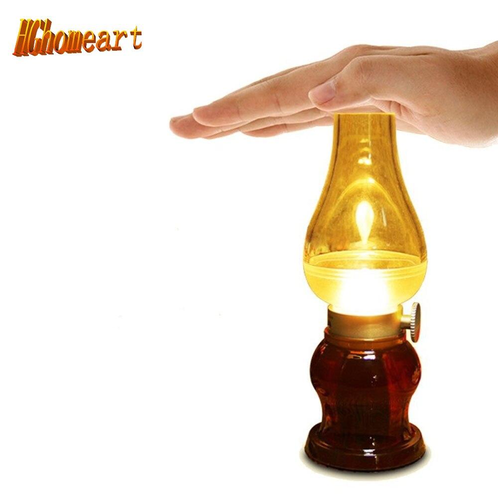 USB Charging LED Kerosene Lamp Adjustable Night Light Bedside Lamp Retro Vintage Blowing Control Candle Light