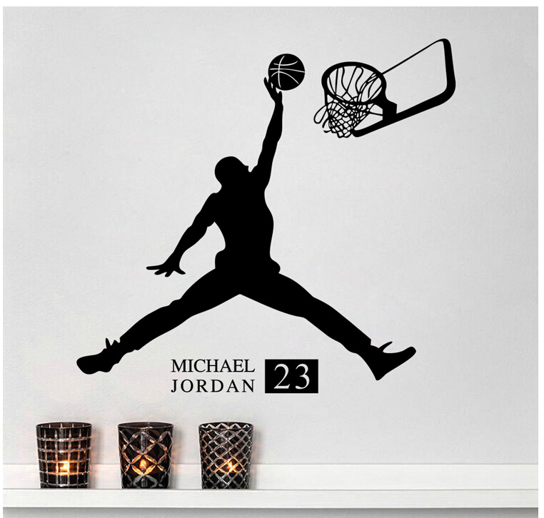 9 Models wall sticker basketball Jordan/ Michael Jackson/ Beckham DIY Glitter Wallpaper Sitting Room Bedroom Decoration