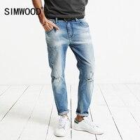 SIMWOOD 2017 Summer New Hole Jeans Ankle Length Pants Cotton Denim Trouser Slim Fit Plus Size