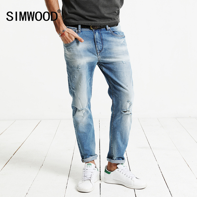 05afb2f57a SIMWOOD 2019 Spring New Hole Jeans Men Ankle-Length Pants Cotton Denim  Trouser Male Slim Fit Plus Size High Quality NC017001