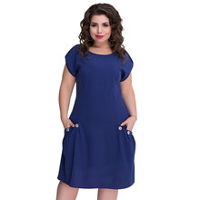 Loose Beach Dress Casual Summer Dress With Big Pockets Plus Size Women Dress Short Sleeve Blue Dress 5XL 6XL Vestidos 2019