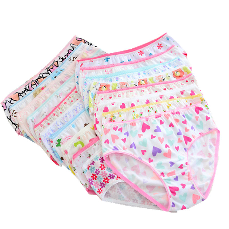 12pcs/Lot Girls Cotton Panties Girls Briefs Gifts Children Underwear Child Cartoon Briefs  Underpants 1-2Y GTNN0001