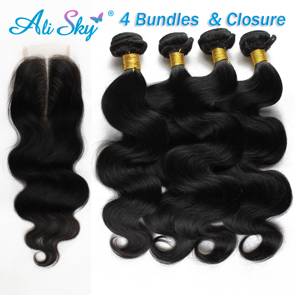 grade 7A malaysian virgin hair with lace closure 4 bundle deals body wave with closure malaysian body wave hair aliexpress uk