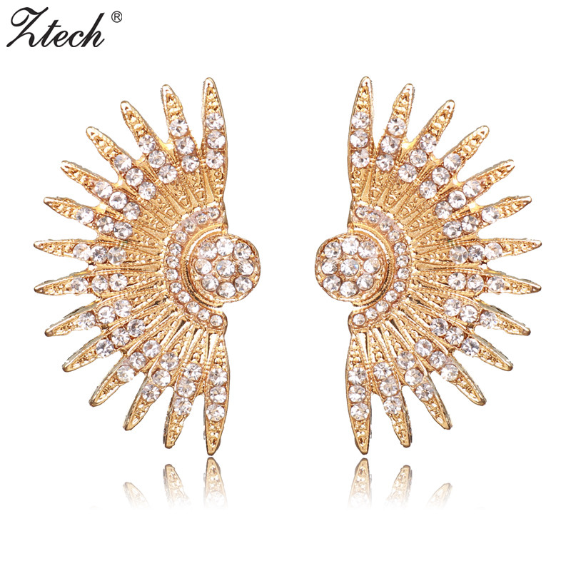 Ztech Luxury Elegant Small Crystal Push-back Classic Fashion Jewelry Vintage Stud Earrings For Women Friendship Gifts For Girl